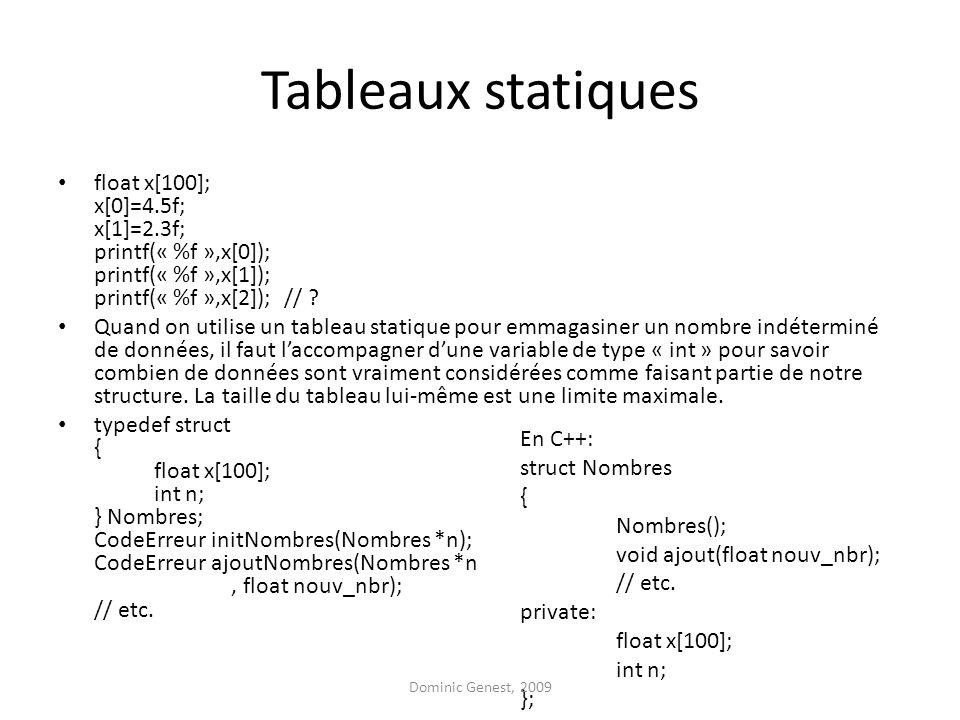 Tableaux statiques float x[100]; x[0]=4.5f; x[1]=2.3f; printf(« %f »,x[0]); printf(« %f »,x[1]); printf(« %f »,x[2]); //